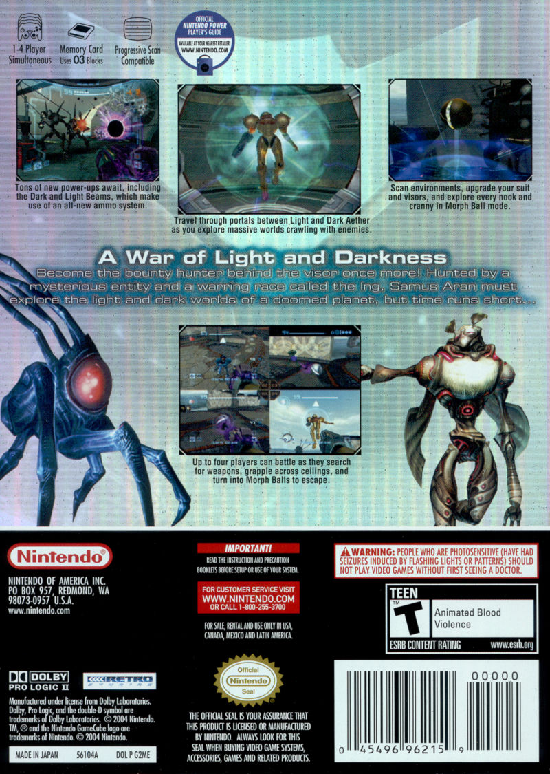 Metroid Prime 2: Echoes GameCube Back Cover