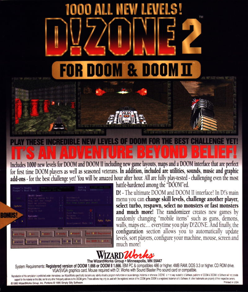 D!Zone 2 DOS Back Cover