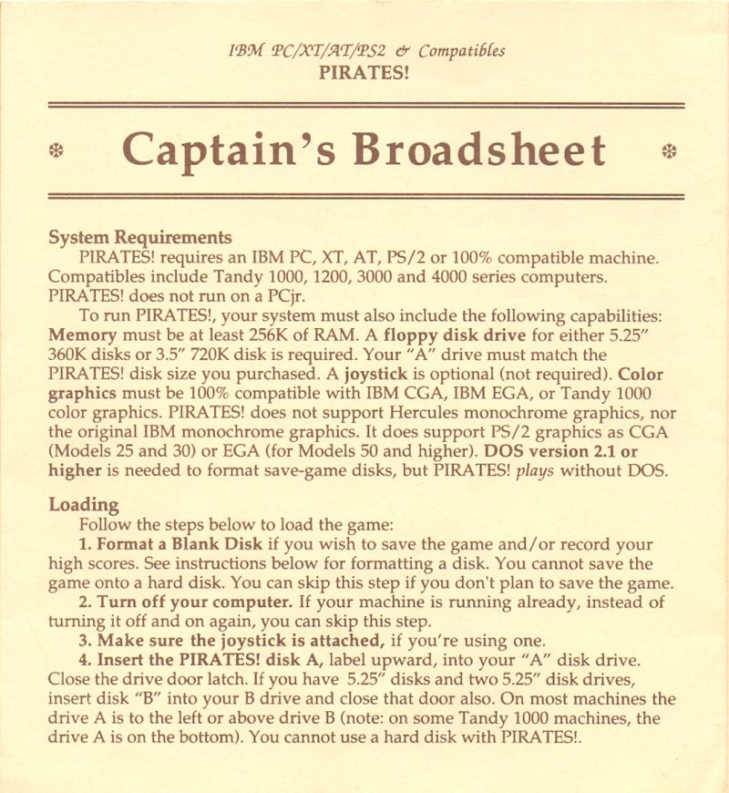 Sid Meier's Pirates! PC Booter Reference Card