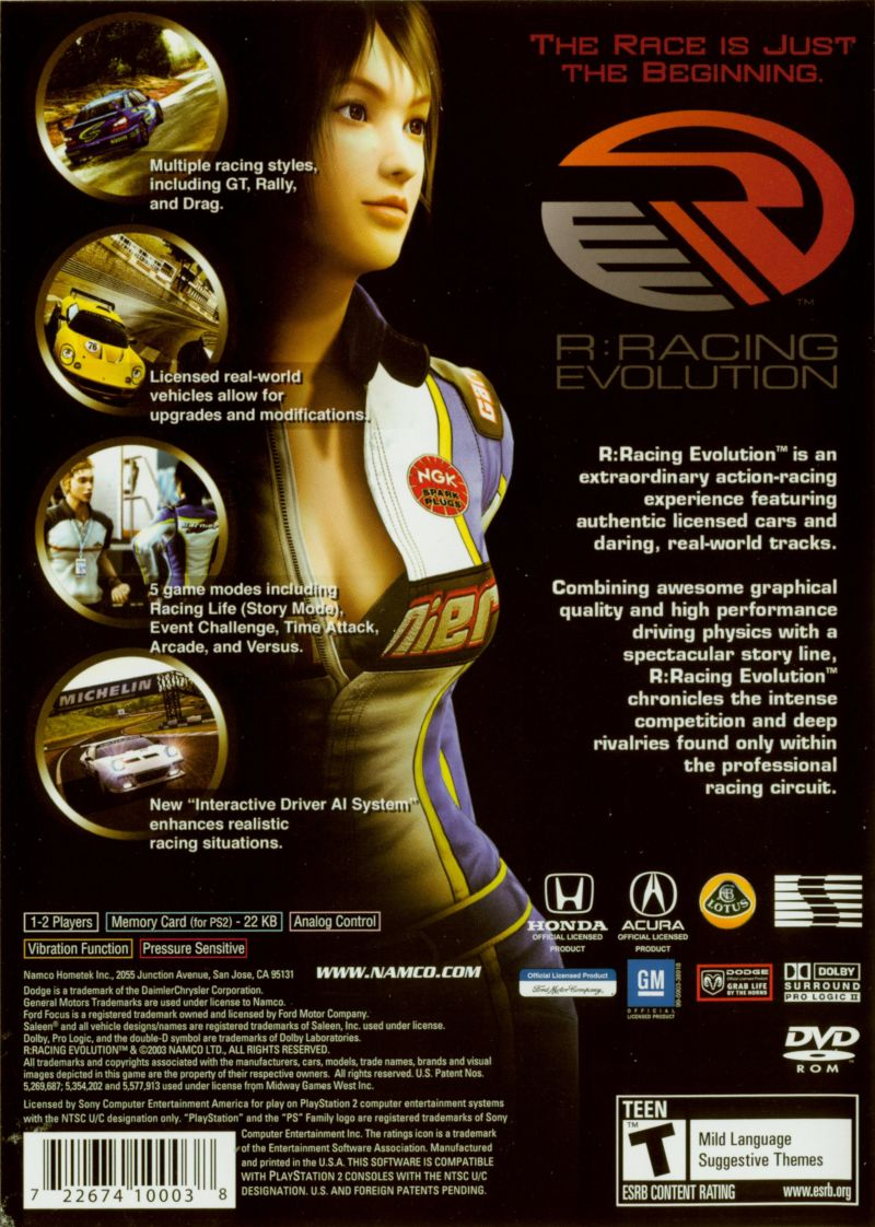 R:Racing Evolution PlayStation 2 Back Cover