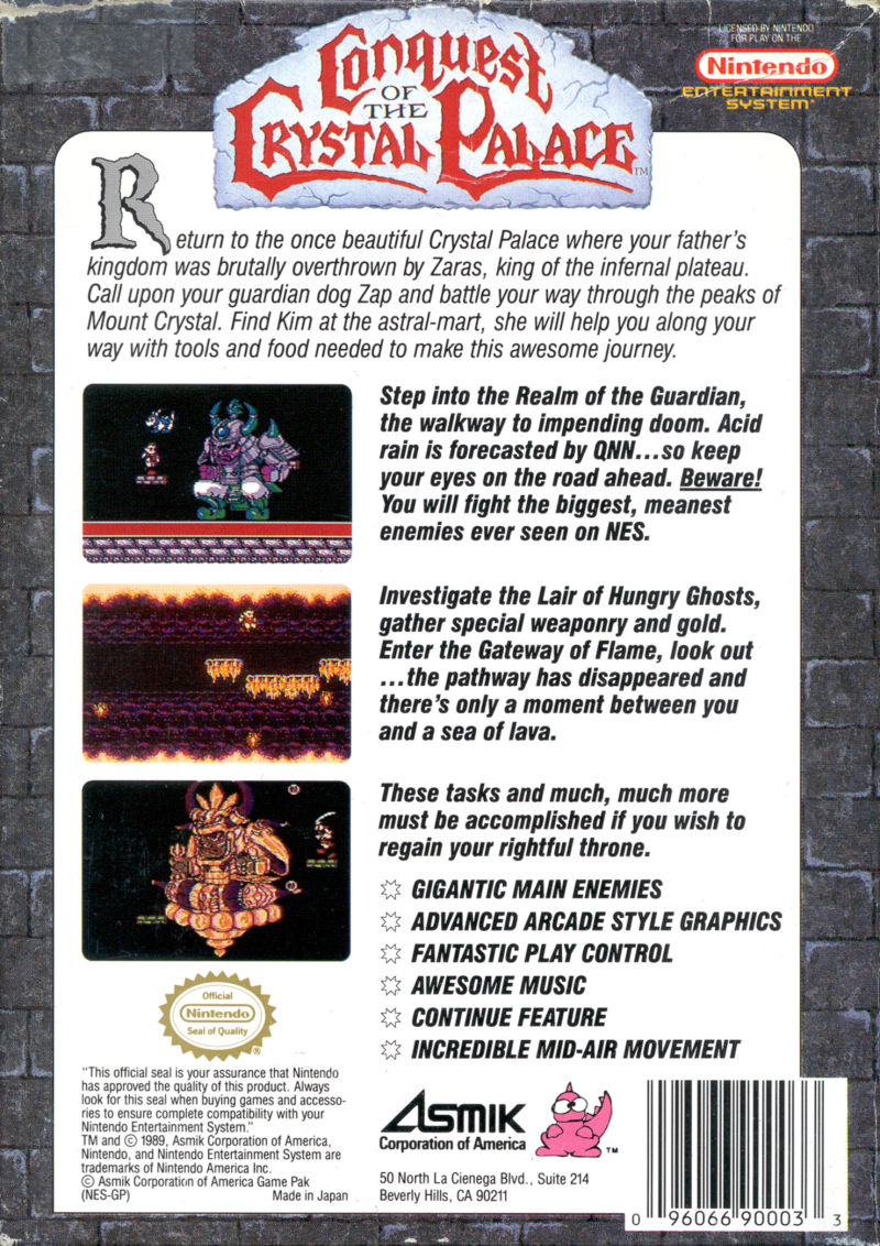 Conquest of the Crystal Palace NES Back Cover
