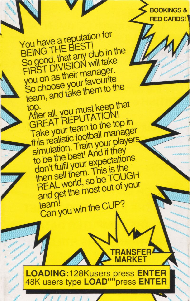 1st Division Manager ZX Spectrum Inside Cover