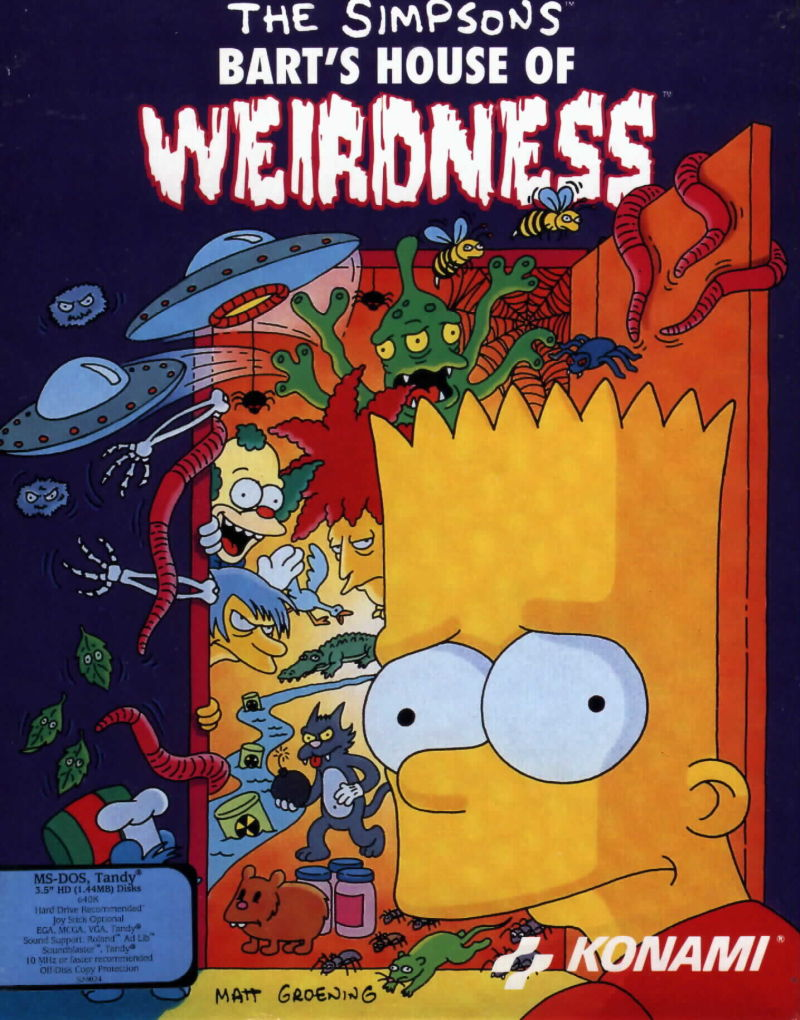 The Simpsons: Bart's House of Weirdness DOS Front Cover