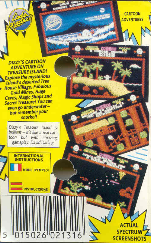 Treasure Island Dizzy ZX Spectrum Back Cover