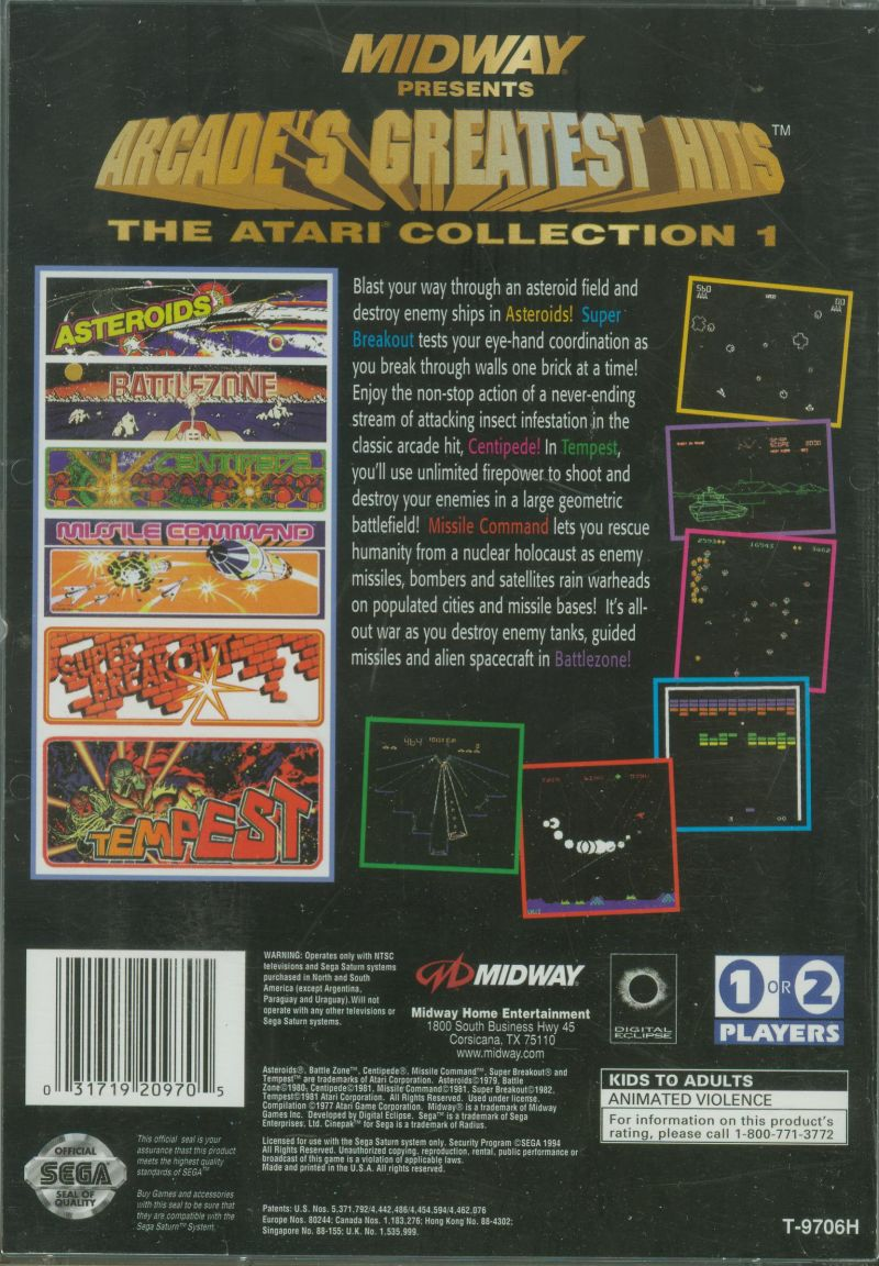 Arcade's Greatest Hits: The Atari Collection 1 SEGA Saturn Back Cover
