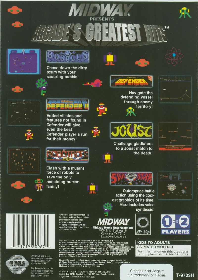 Williams Arcade Classics SEGA Saturn Back Cover