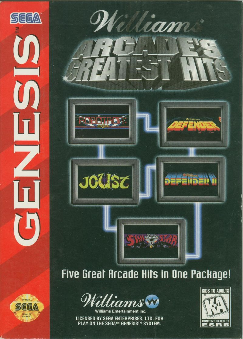 Williams Arcade Classics Genesis Front Cover