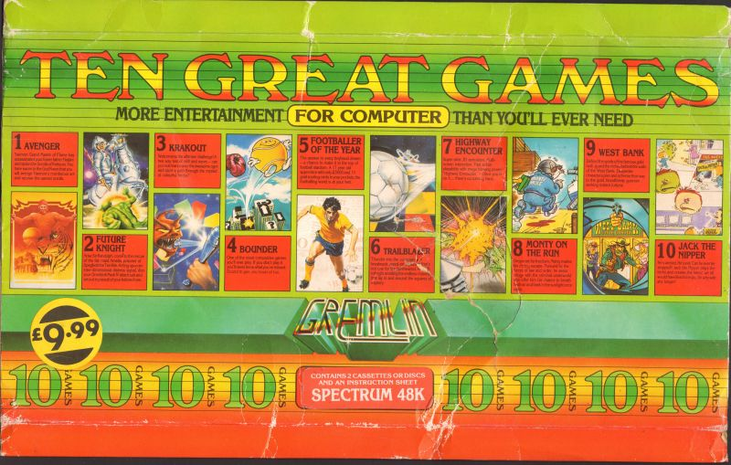 Ten Great Games ZX Spectrum Front Cover