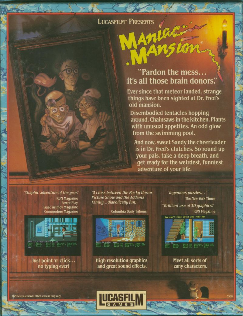 Maniac Mansion Atari ST Back Cover