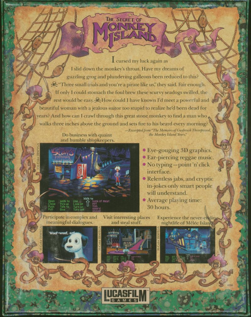 The Secret of Monkey Island Atari ST Back Cover