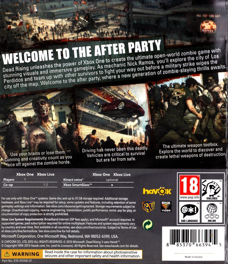Dead Rising 3 (2013) Xbox One box cover art - MobyGames