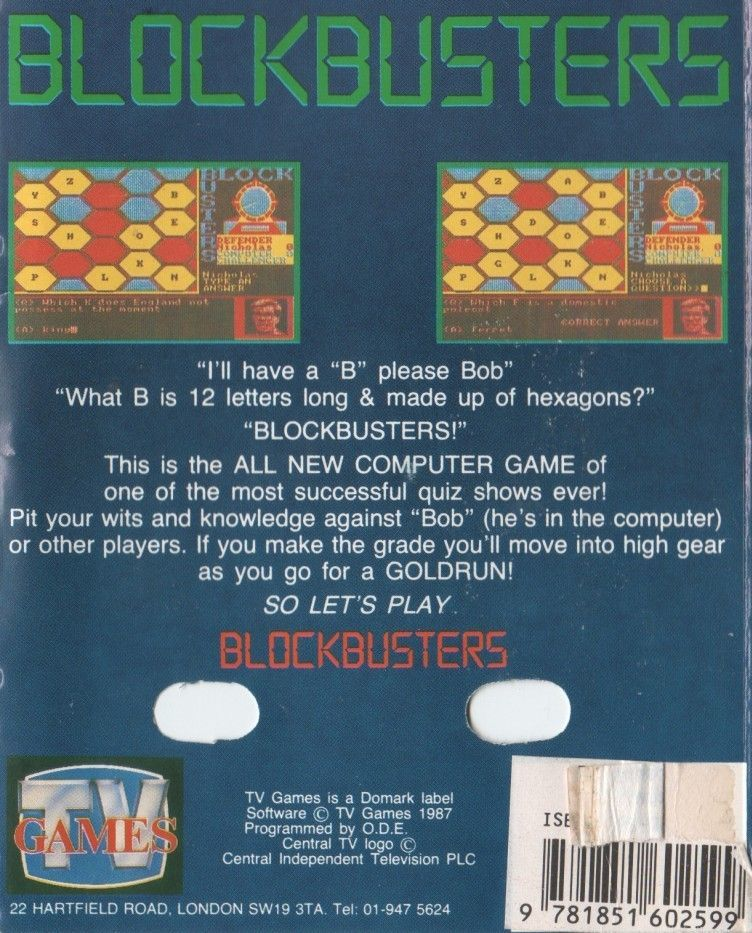 Blockbusters ZX Spectrum Back Cover