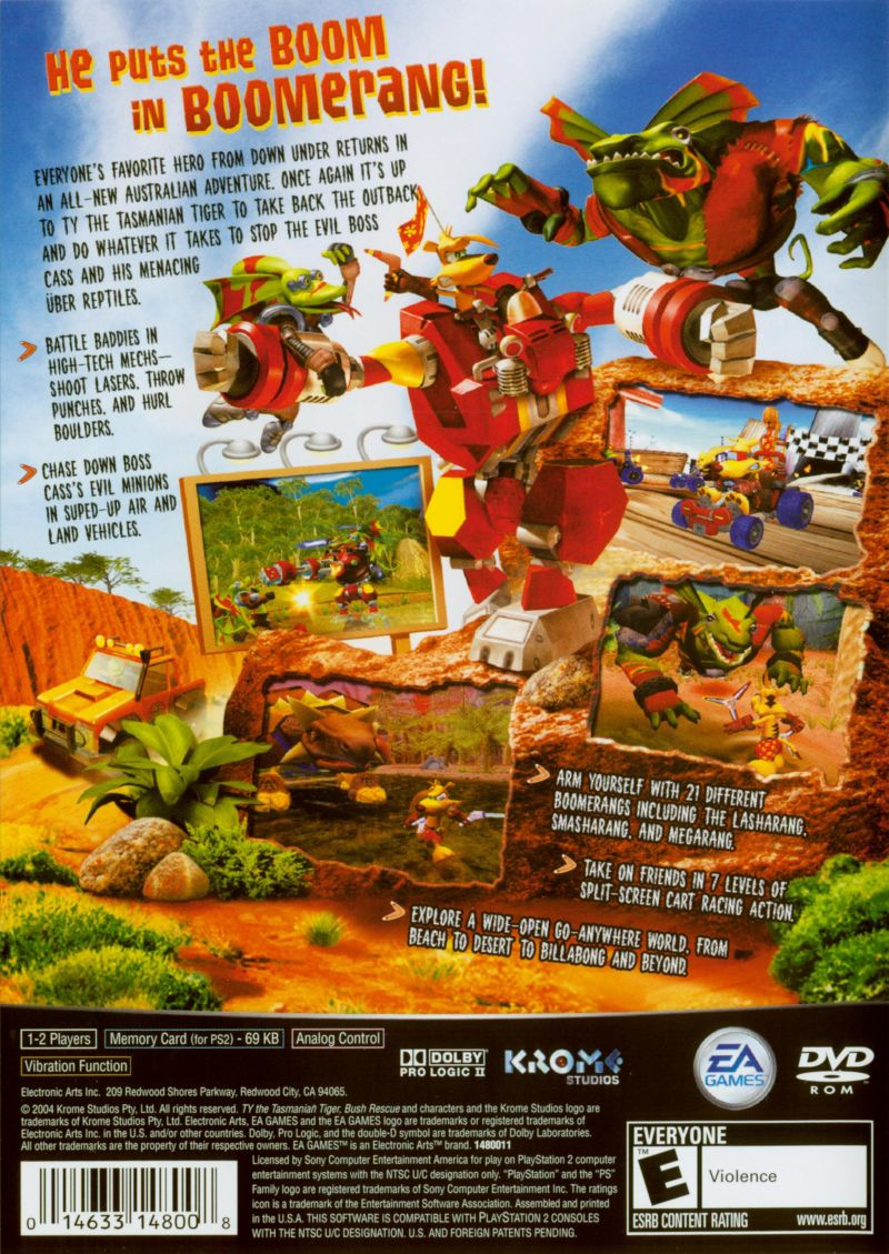 TY the Tasmanian Tiger 2: Bush Rescue PlayStation 2 Back Cover