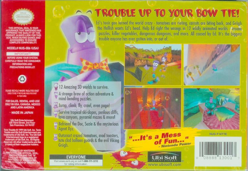 Tonic Trouble Nintendo 64 Back Cover
