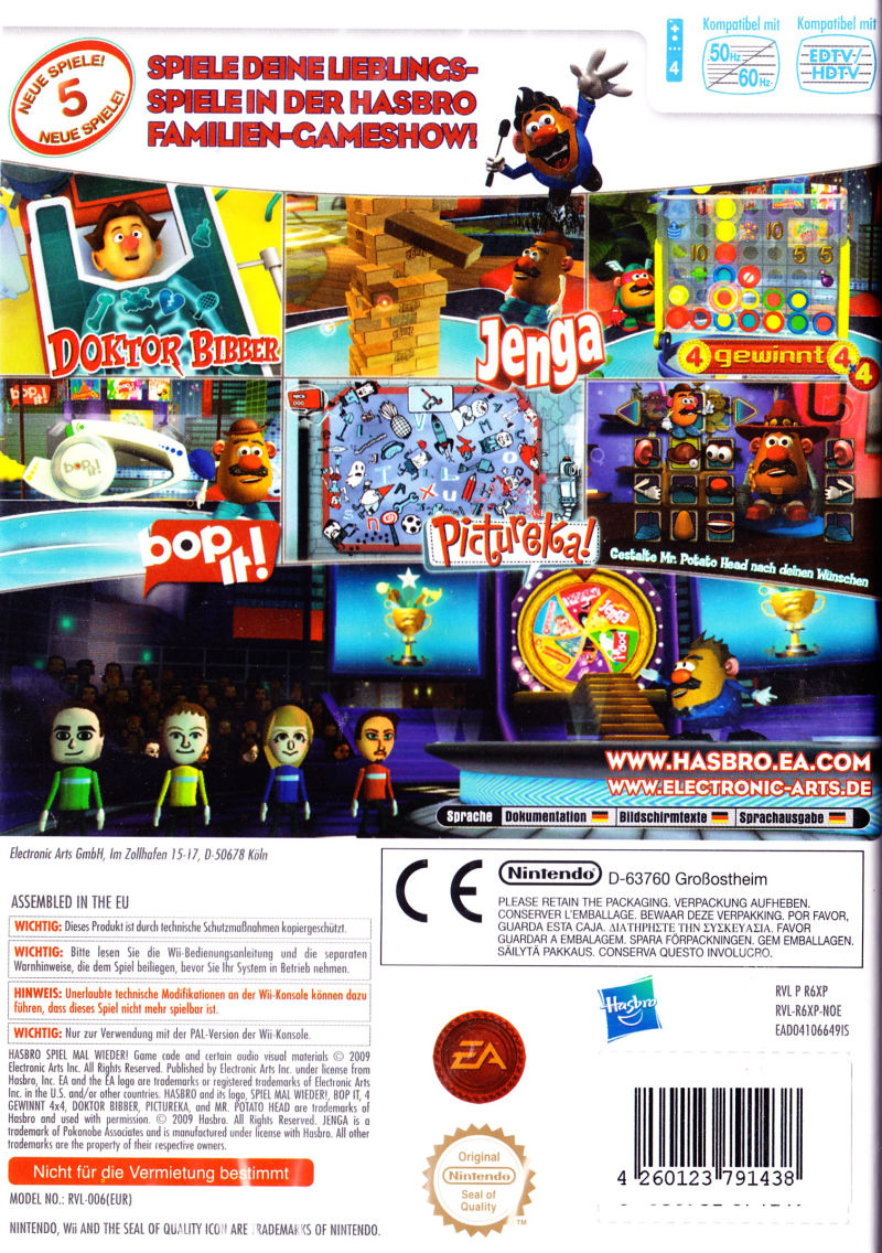 Hasbro Family Game Night 2 2009 Wii Box Cover Art MobyGames 395932 Back GameCoverId395932