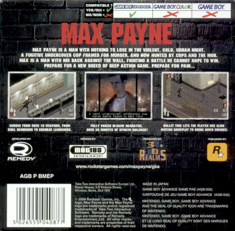 Max Payne Game Boy Advance Back Cover