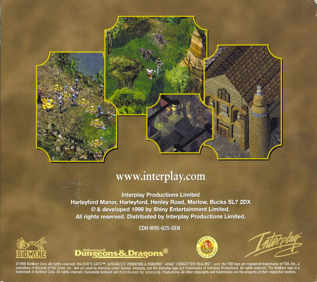 Baldur's Gate Windows Other Cardboard Case - Back Cover