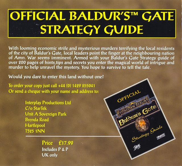 Baldur's Gate Windows Other Cardboard Case - Inside Cover