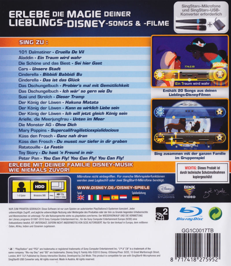 Disney Sing It: Family Hits PlayStation 3 Back Cover