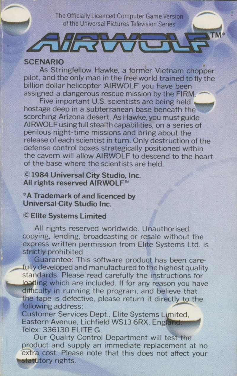 Airwolf ZX Spectrum Back Cover