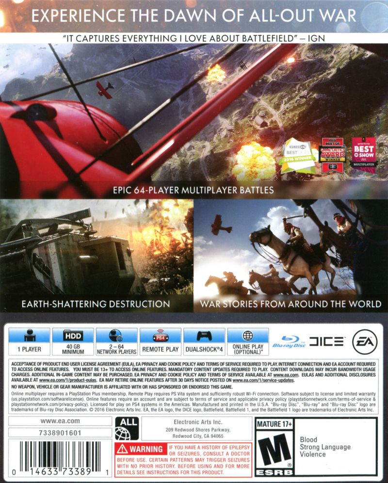 Battlefield 1 PlayStation 4 Back Cover