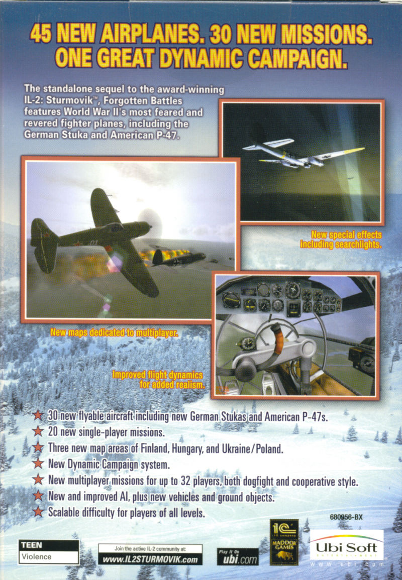 IL-2 Sturmovik: Forgotten Battles Windows Back Cover