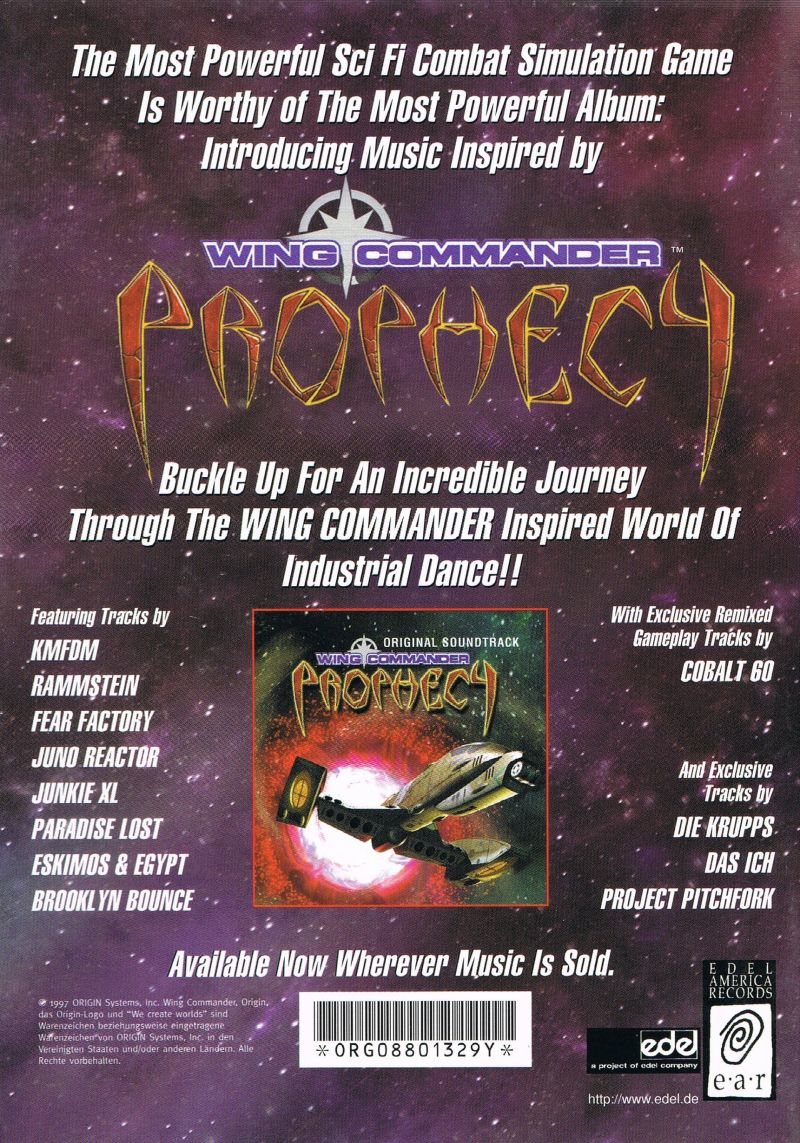 Wing Commander: Prophecy Windows Manual Back