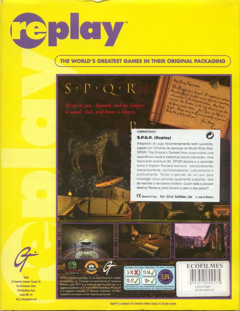 SPQR: The Empire's Darkest Hour Windows 3.x Back Cover