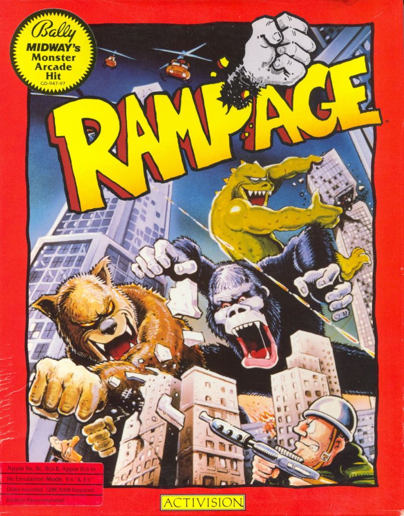 Rampage Apple II Front Cover