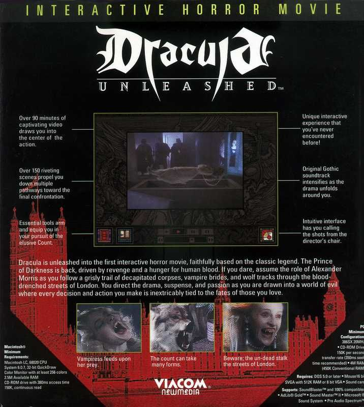 Dracula Unleashed DOS Back Cover