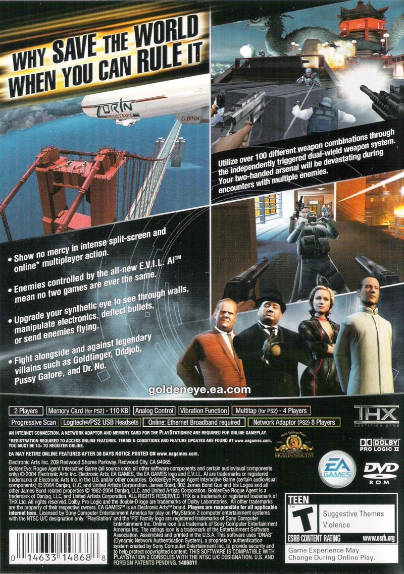 GoldenEye: Rogue Agent PlayStation 2 Back Cover