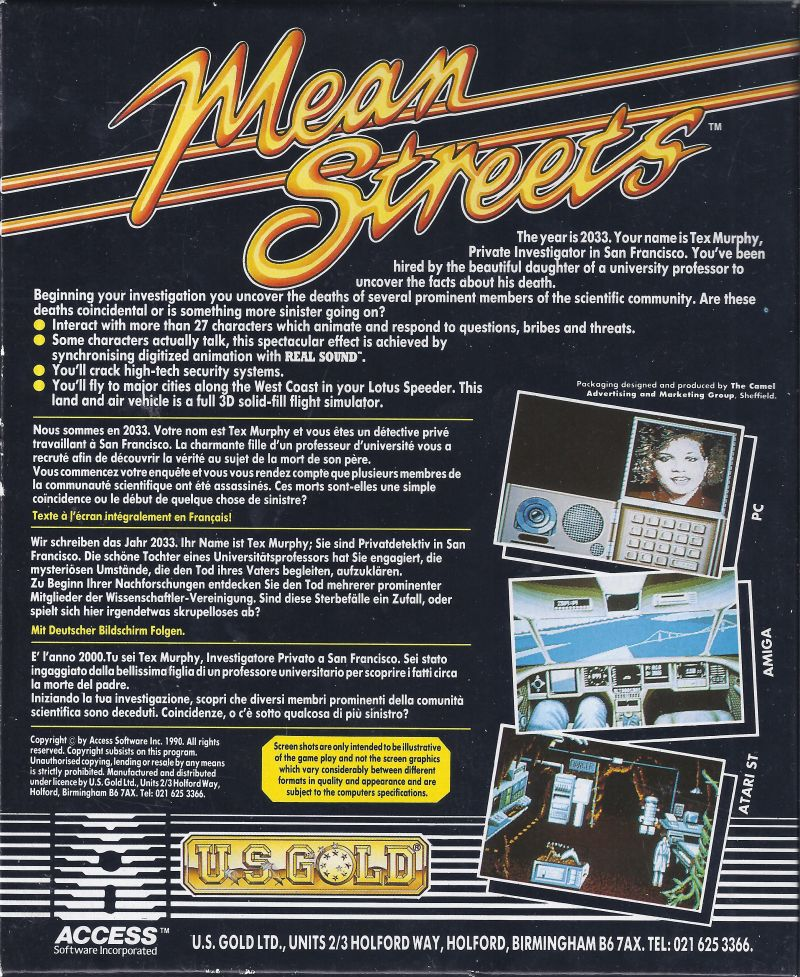 Mean Streets Commodore 64 Back Cover