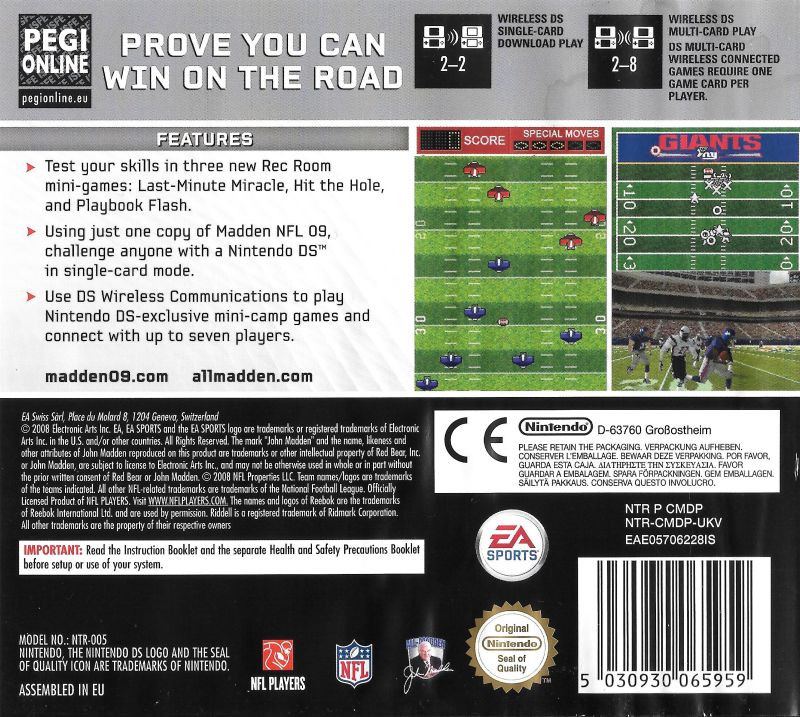 Madden NFL 09 (2008) Nintendo DS box cover art - MobyGames