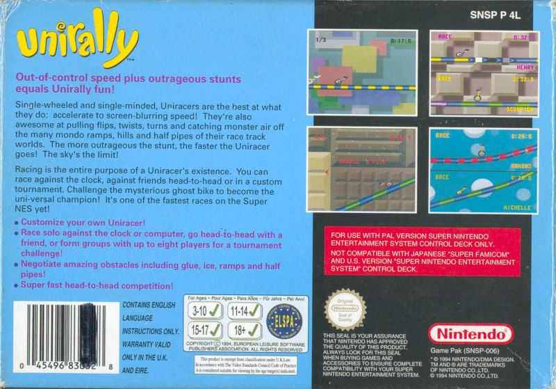 Uniracers SNES Back Cover