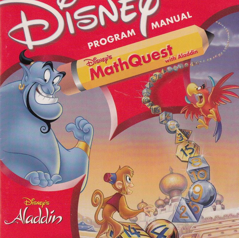 Disney's Math Quest with Aladdin Macintosh Manual Front