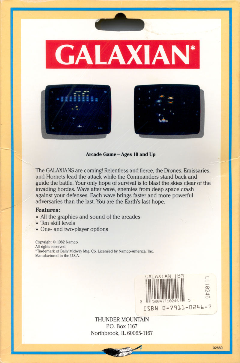 Galaxian PC Booter Back Cover