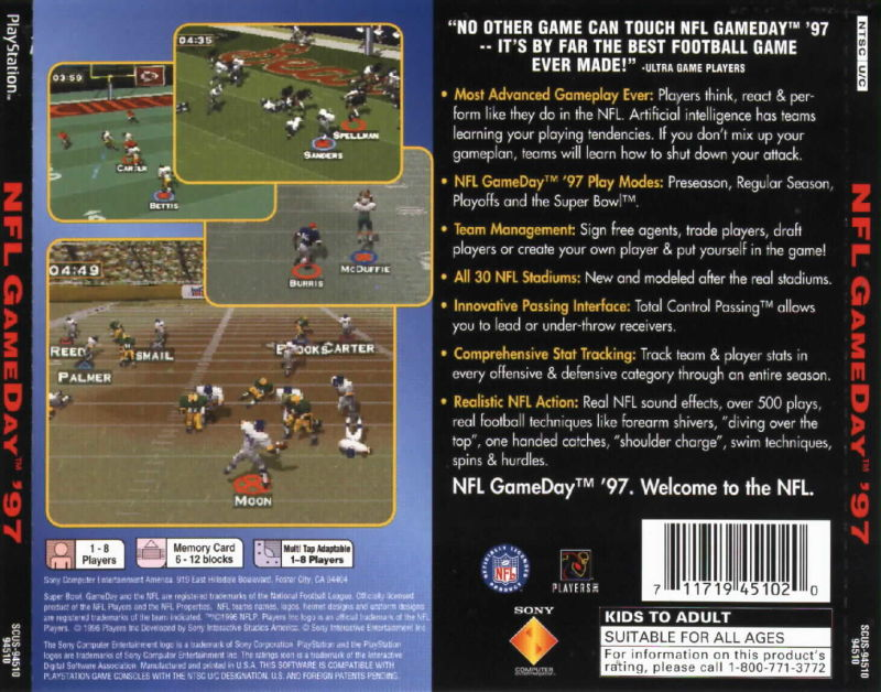 NFL GameDay '97 PlayStation Back Cover