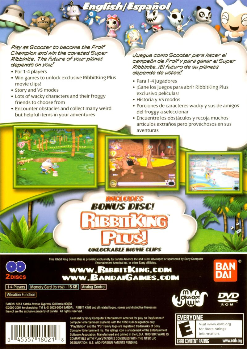 Ribbit King PlayStation 2 Back Cover