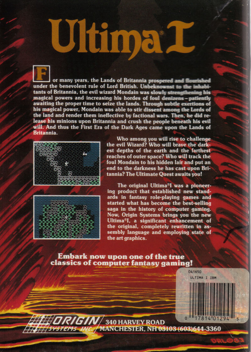 Ultima I: The First Age of Darkness DOS Back Cover