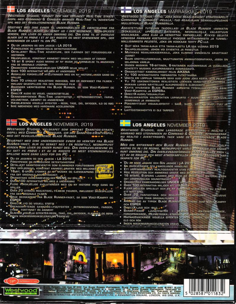 Blade Runner Windows Back Cover