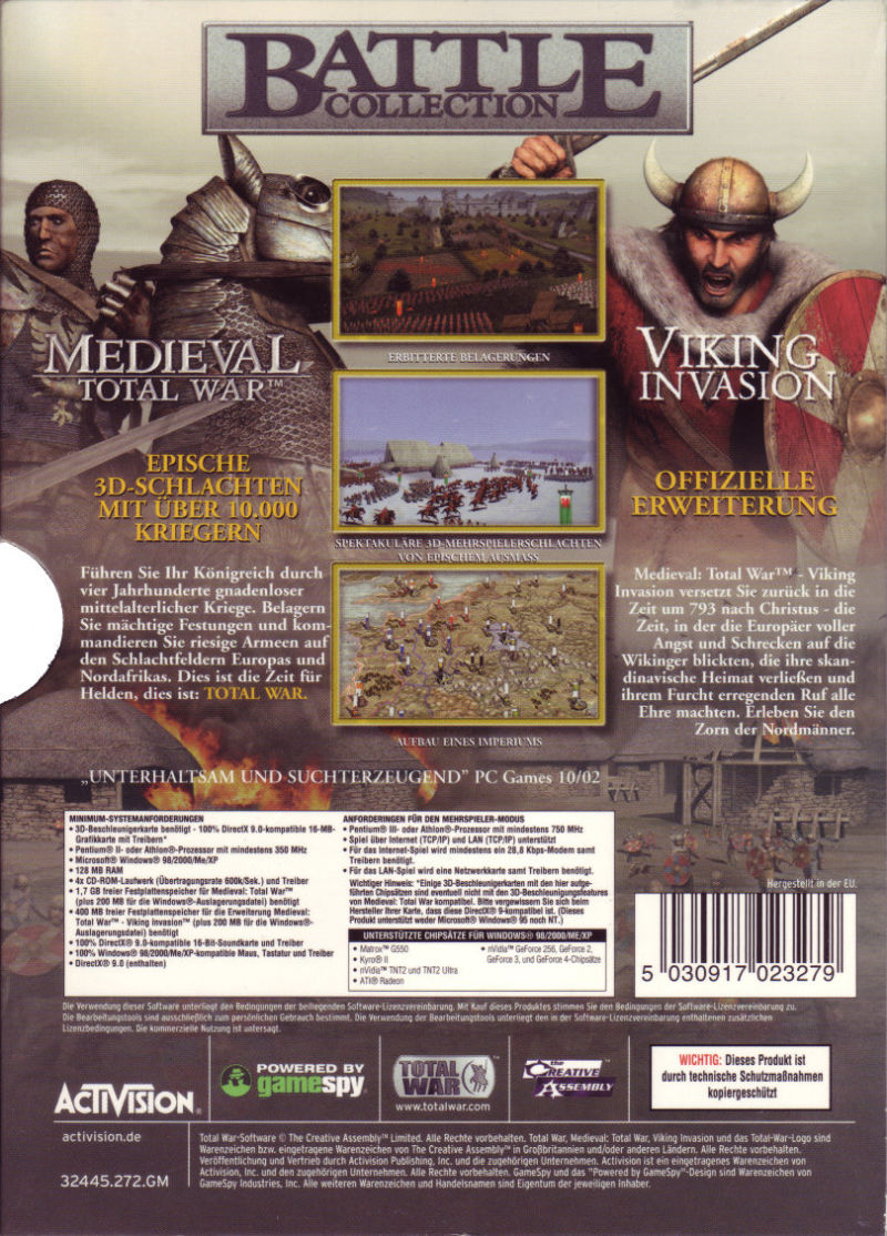 Medieval: Total War - Battle Collection Windows Back Cover