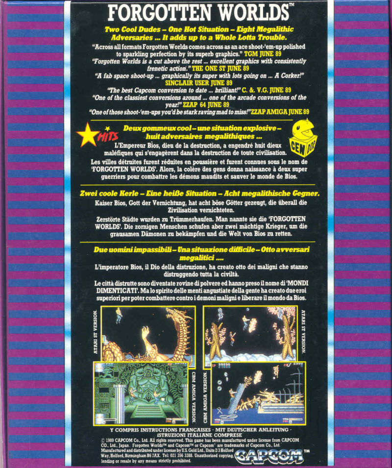 Forgotten Worlds Amiga Back Cover