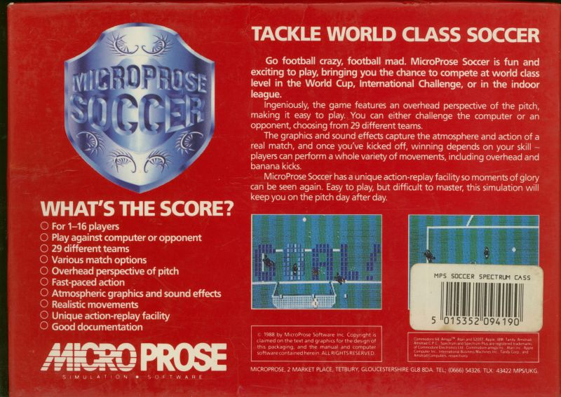 Keith Van Eron's Pro Soccer ZX Spectrum Back Cover