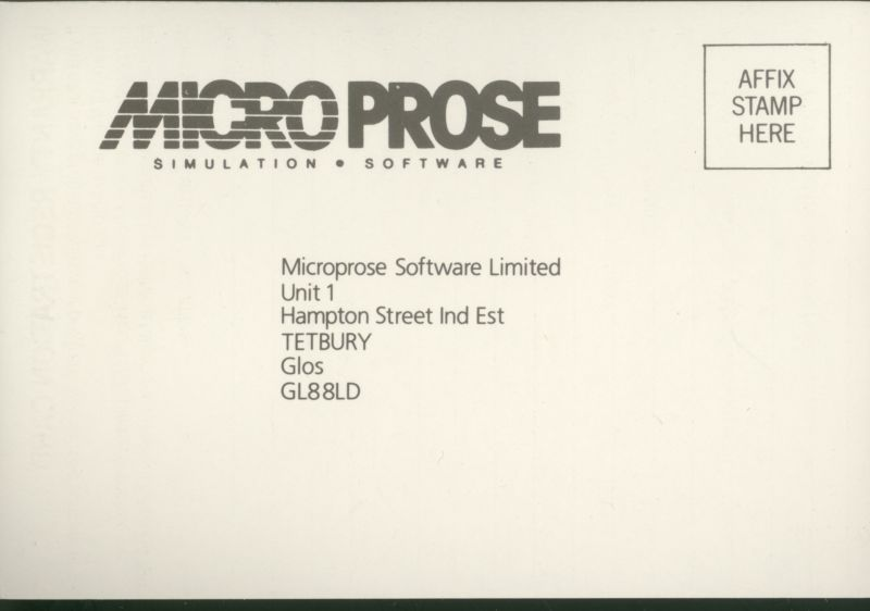 Keith Van Eron's Pro Soccer ZX Spectrum Extras Warranty Registration Card