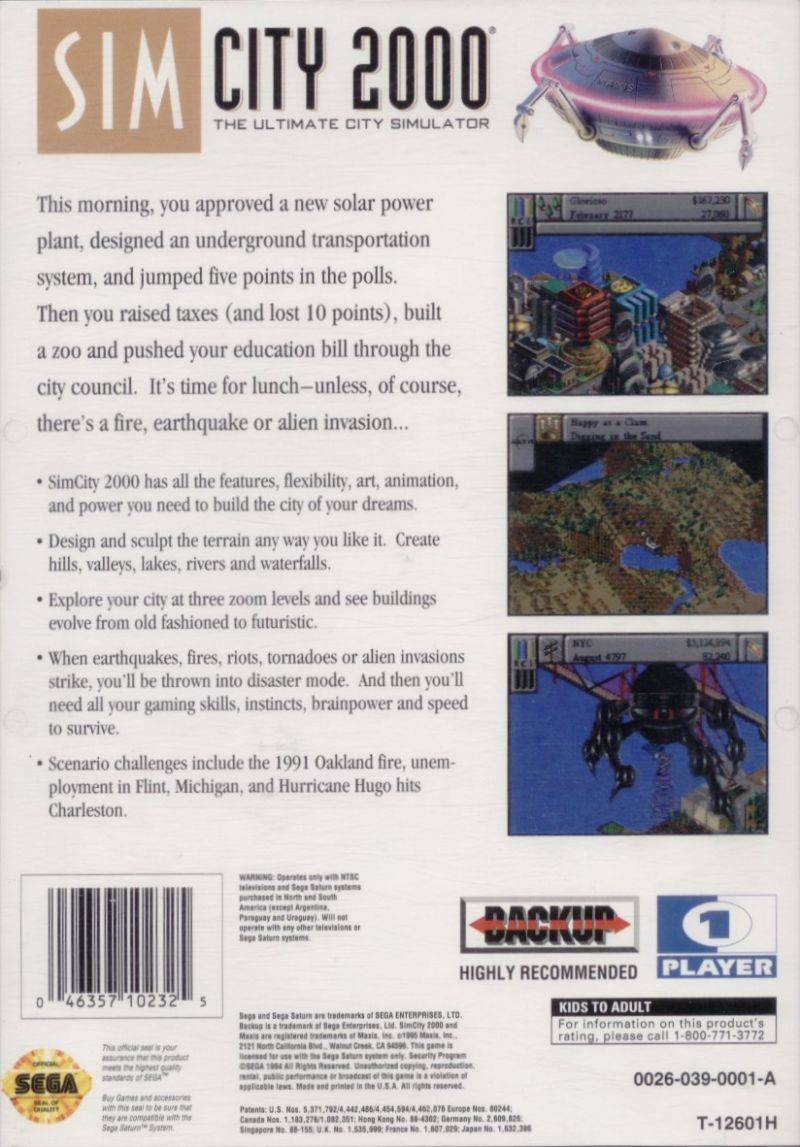 SimCity 2000 SEGA Saturn Back Cover