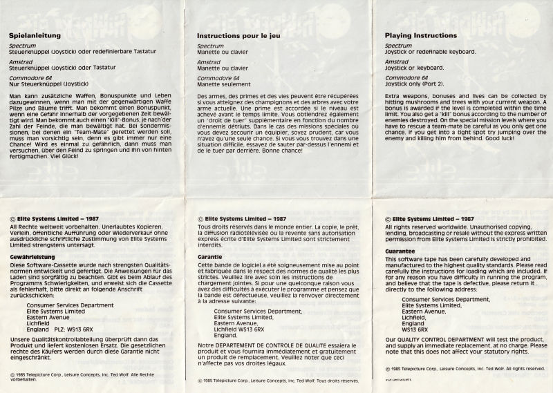 Thundercats ZX Spectrum Other foldable instructions side B