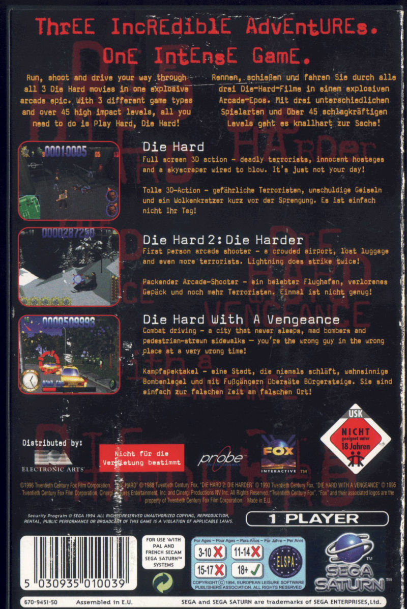Die Hard Trilogy SEGA Saturn Back Cover