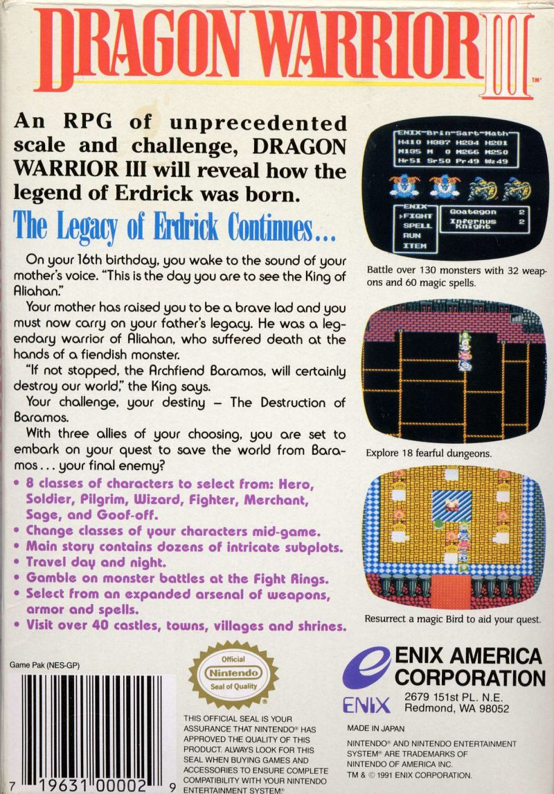 Dragon Warrior III NES Back Cover