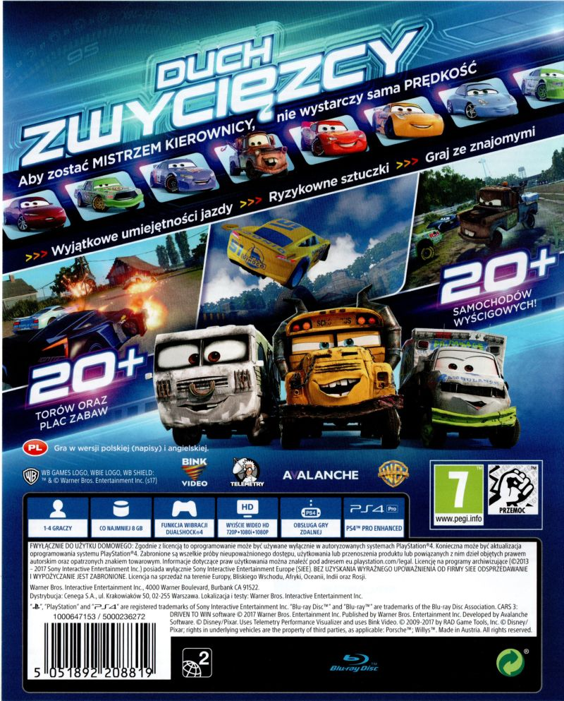 Uncategorized Pixar Games cars 3 driven to win 2017 nintendo switch box disneypixar playstation 4 back cover