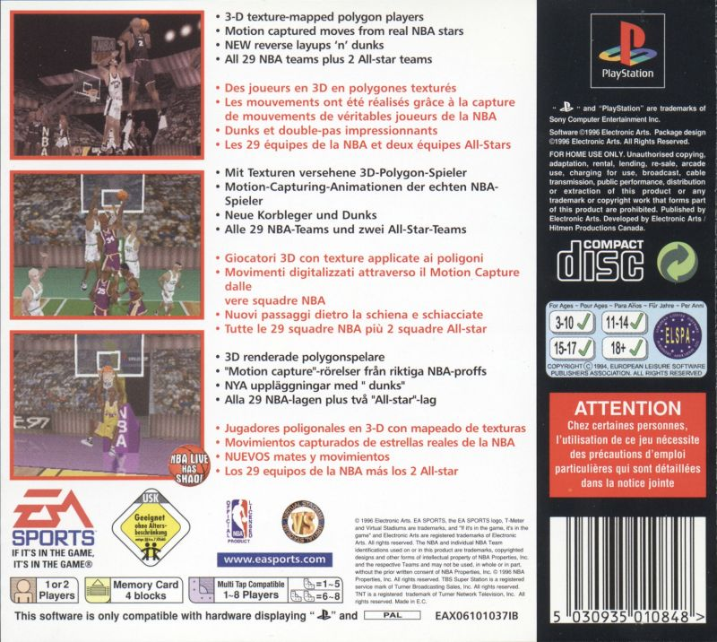 NBA Live 97 PlayStation Back Cover